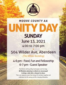 Moore County AA Unity Day @ The Wilder Buidling | Aberdeen | North Carolina | United States